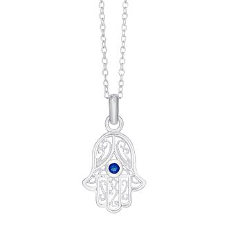Sterling Silver & Blue Glass Hamsa Hand Pendant - Product number 3735095