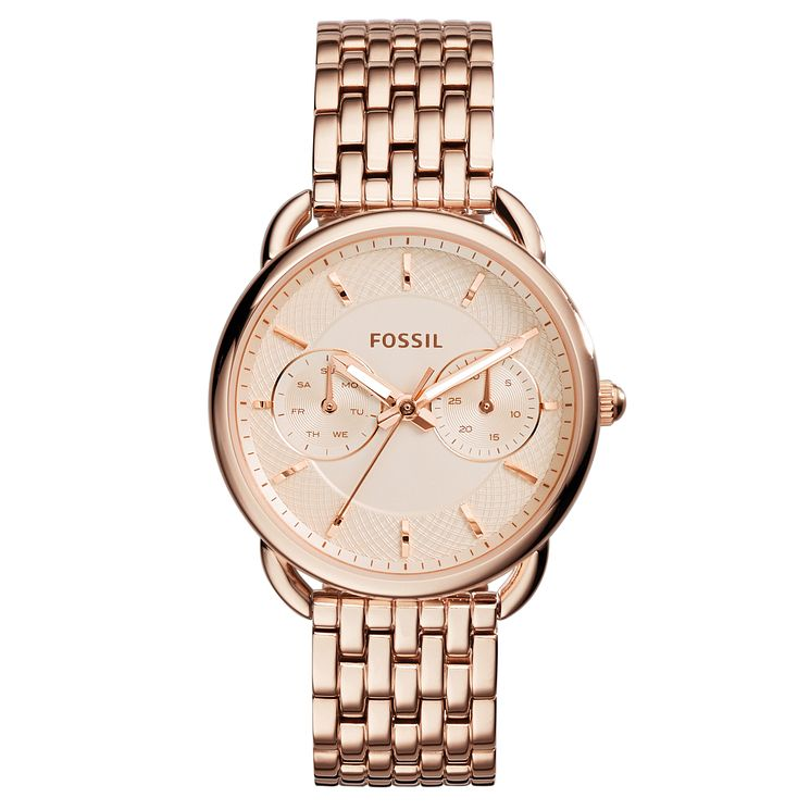 Fossil Ladies' Tailor Rose Gold Plated Bracelet Watch - Product number 3735419