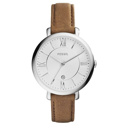 Fossil Ladies' Jacqueline Steel & Brown Leather Watch - Product number 3735621