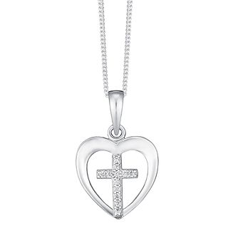 Cross hmuel sterling silver crystal heart with cross pendant product number 3737993 aloadofball Gallery