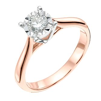 9ct Rose Gold 0.33ct Diamond Solitaire Ring - Product number 3741397