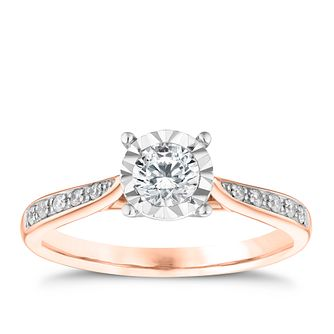 9ct Rose Gold 0.33ct Diamond Solitaire Ring - Product number 3744035