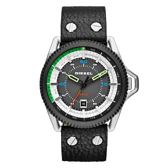 Diesel Mens Rollcage Black Dial & Leather Strap Watch - Product number 3745643
