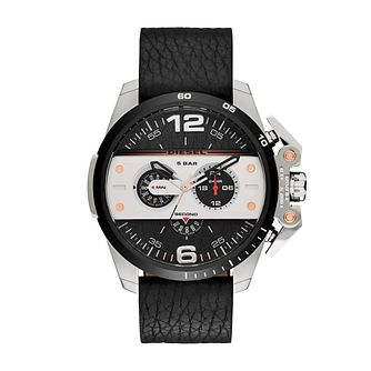Diesel Mens Ironside Black Dial & Leather Strap Watch - Product number 3745678