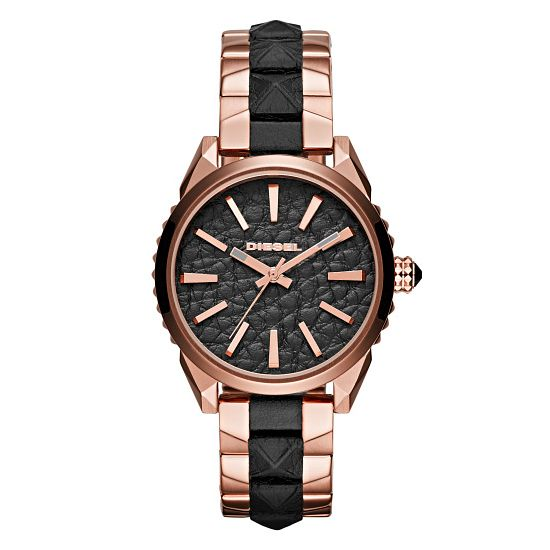 Diesel Ladies Nuki Black Dial Rose Gold Black Bracelet Watch - Product number 3745732