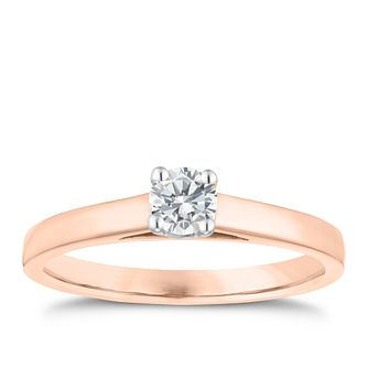18ct Rose Gold 0.25ct Diamond Solitaire 4 Claw Ring - Product number 3747174