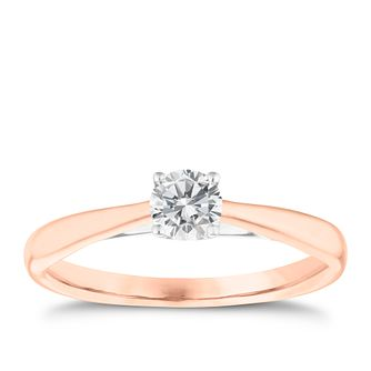 18ct Rose Gold 0.33ct Diamond Solitaire 4 Claw Ring - Product number 3748294
