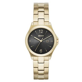DKNY Ladies' Black Dial Gold-Plated Bracelet Watch - Product number 3749622