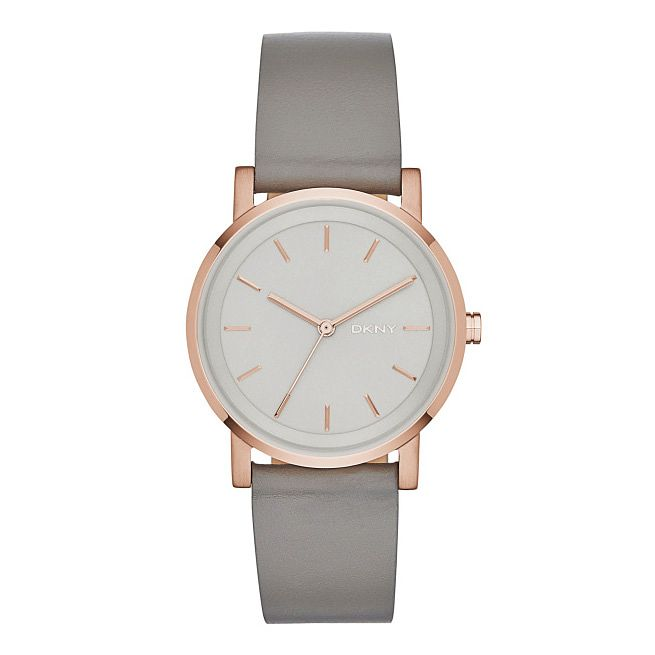 DKNY Ladies' Mother Of Pearl Dial Grey Leather Strap Watch - Product number 3750655
