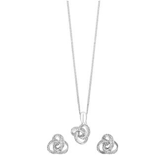 9ct White Gold Pendant & Earring Set - Product number 3750795