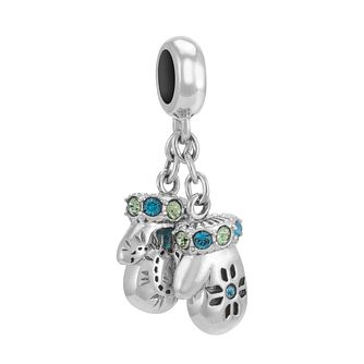 Chamilia Sterling Silver Crystal Set Mittens Charm Bead - Product number 3756963