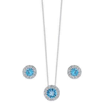 9ct white gold blue topaz & diamond earring and pendant set - Product number 3757447