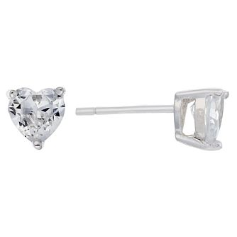 Sterling Silver & Cubic Zirconia Heart Stud Earrings 5mm - Product number 3760170