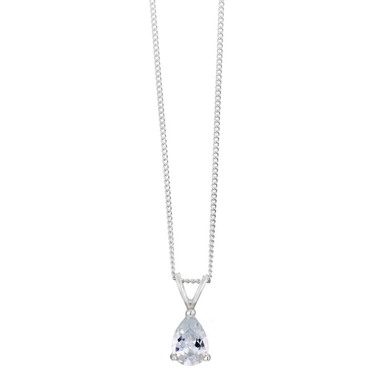 Sterling Silver & Pear Shaped Cubic Zirconia Drop Pendant - Product number 3760189