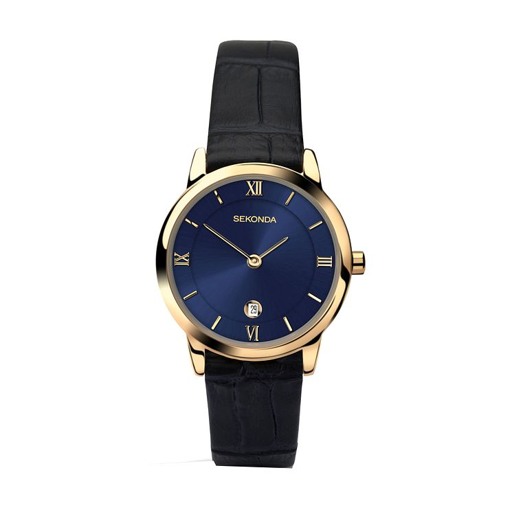 Sekonda Ladies' Blue Dial Black Leather Strap Watch - Product number 3760987