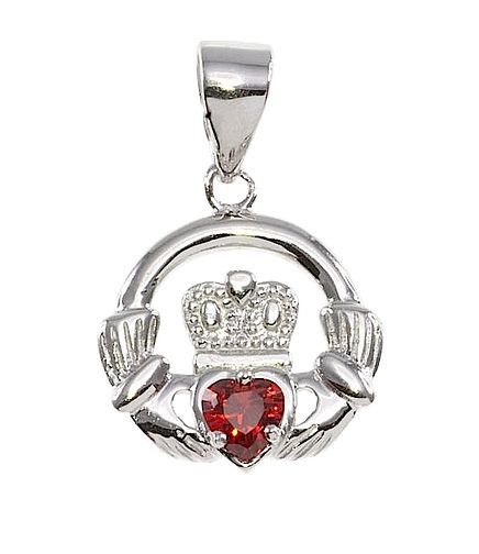 Cailin Silver & Red Cubic Zirconia Claddagh Pendant - Product number 3762483