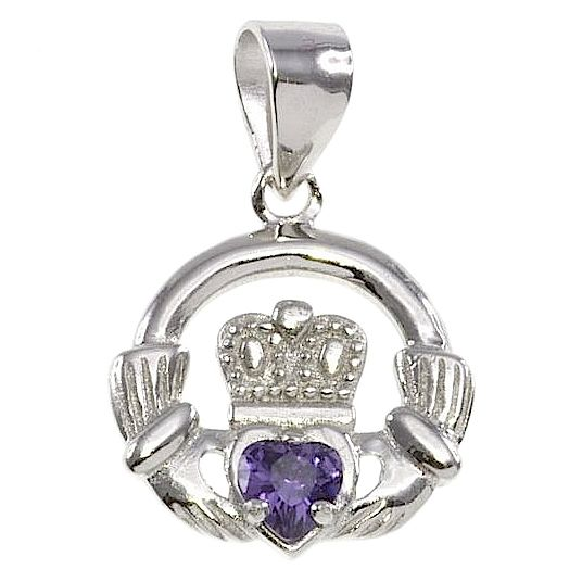 Cailin Silver & Purple Cubic Zirconia Claddagh Pendant - Product number 3762491