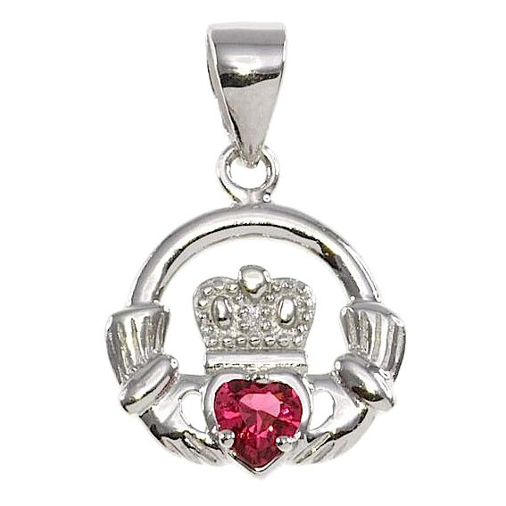 Cailin Silver & Red Cubic Zirconia Claddagh Pendant - Product number 3762556