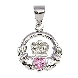 Cailin Silver & Pink Cubic Zirconia Claddagh Pendant - Product number 3762580
