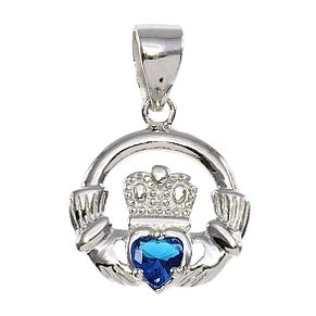 Cailin Silver & Blue Cubic Zirconia Claddagh Pendant - Product number 3762602