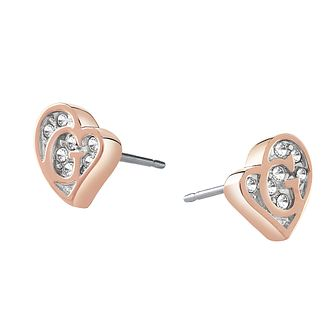 Guess Rose Gold Plated Crystal Heart Shape Logo Earrings - Product number 3765288