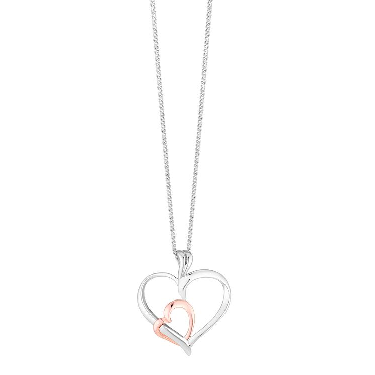 Silver and 9ct rose gold heart pendant - Product number 3767647