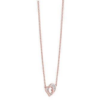 Guess Rose Gold-Plated Stone Set Mini 'G' Heart Necklace - Product number 3768945