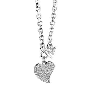 Guess Rhodium-Plated Small Pave Stone Set Heart Necklace - Product number 3768988