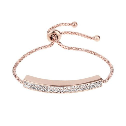 Mikey Rose Gold Tone Crystal Set Chain ID Tie Bracelet - Product number 3769100