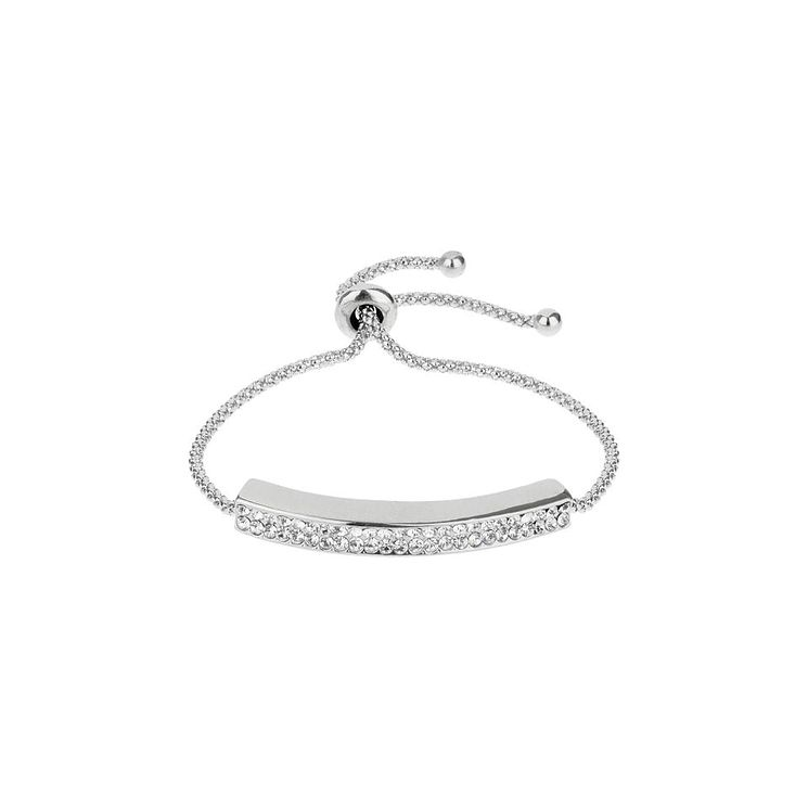 Mikey Silver Tone Crystal Set Chain ID Tie Bracelet - Product number 3769127