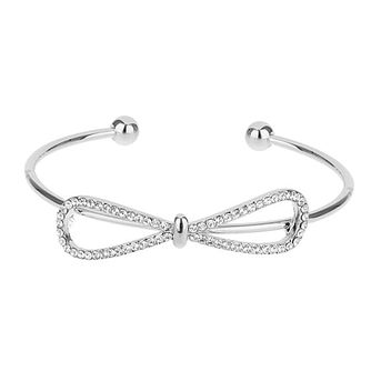 Mikey Silver Tone Crystal Set Bow Bangle - Product number 3769178