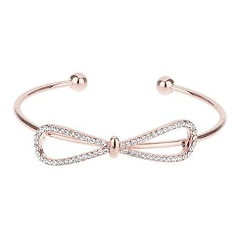 Mikey Rose Gold Tone Crystal Set Bow Bangle - Product number 3769186