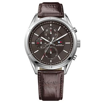Tommy Hilfiger Men's Brown Leather Strap Watch - Product number 3773698
