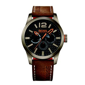 Hugo Boss Orange Men's Black Dial Brown Leather Strap Watch - Product number 3774384