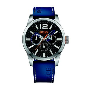 Hugo Boss Orange Men's Black Dial Blue Silicone Strap Watch - Product number 3774392