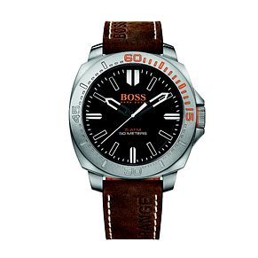Hugo Boss Orange Men's Black Dial Brown Leather Strap Watch - Product number 3774414