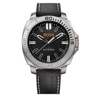 Hugo Boss Orange Men's Black Dial Black Leather Strap Watch - Product number 3774422