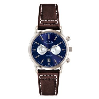 Rotary Men's Round Blue Dial Brown Leather Strap Watch - Product number 3780309
