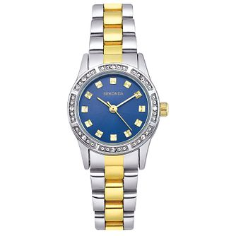 Sekonda Ladies' Round Blue Dial Two Tone Bracelet Watch - Product number 3782174