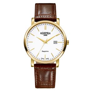 Roamer Classic Line Men's Brown Leather Strap Watch - Product number 3788059