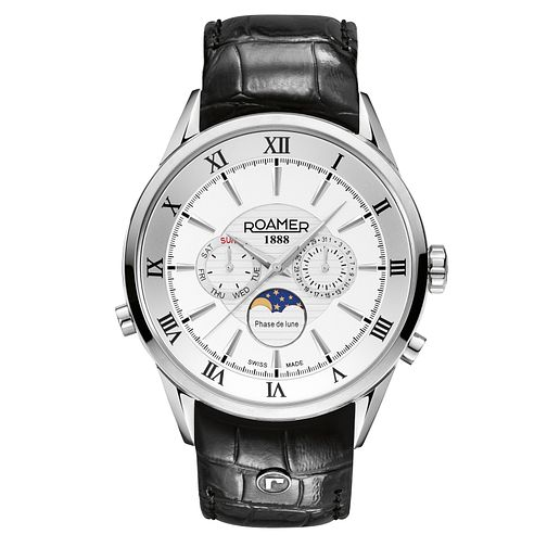 Roamer Superior Moonphase Men's Leather Strap Watch - Product number 3788288