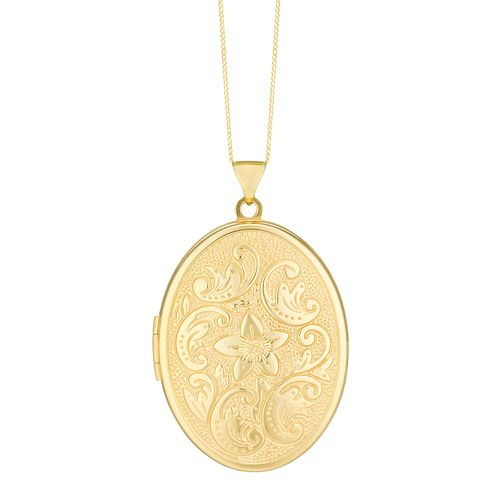 9ct Gold 23mm Oval Floral Patterned Locket - Product number 3793923