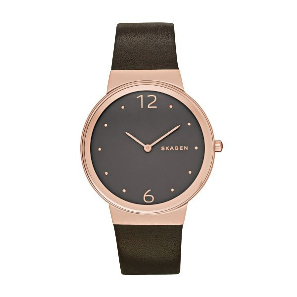 Skagen Ladies' Grey Dial Brown Leather Strap Watch - Product number 3794210