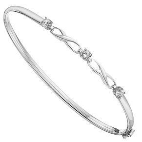 9ct White Gold Cubic Zirconia Set Kiss Bangle - Product number 3801225