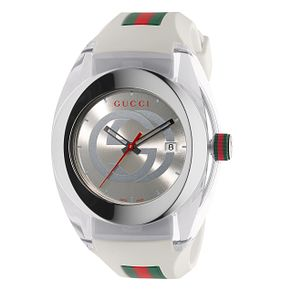 Gucci Sync men's white striped rubber strap watch - Product number 3801640