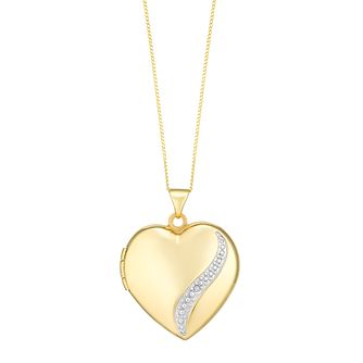 9ct Gold 21mm Diamond Set Heart Locket - Product number 3801845
