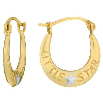 Children's 9ct Gold Little Star Creole Earrings - Product number 3801853