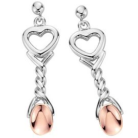Clogau Gold Silver & 9ct Rose Gold Lovespoons Drop Earrings - Product number 3805328