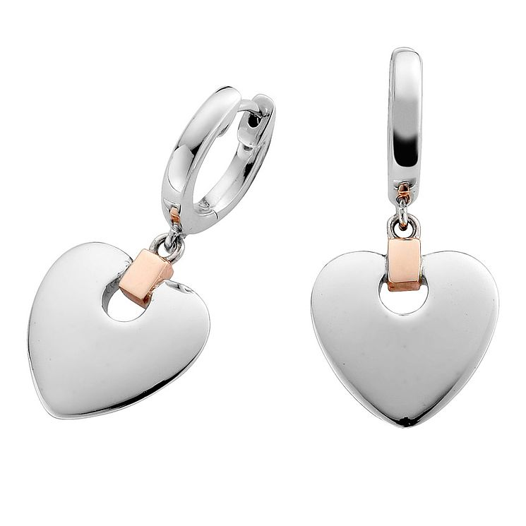 Clogau Gold Silver & 9ct Rose Gold Cariad Drop Earrings - Product number 3805581