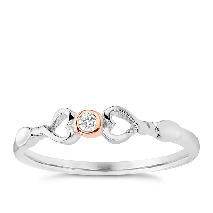Clogau Gold Sterling Silver & 9ct Rose Gold Lovespoons Ring